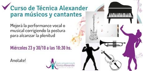 Curso de Técnica Alexander para músicos y cantantes entradas