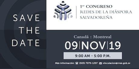 """Canadá: 1er. Congreso """"Redes de la Diáspora Salvadoreña"""" billets"""