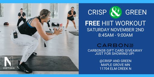 FREE WORKOUT: Crisp & Green + Carbon38 Gift Card Giveaway