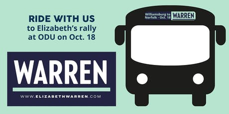 Ride the bus to Elizabeth Warren's town hall at ODU tickets