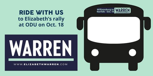 Ride the bus to Elizabeth Warren's town hall at ODU