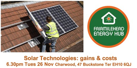 Sunshine on Fairmilehead: Solar gains and costs 6.30pm Tue 26 Nov, Charwood tickets