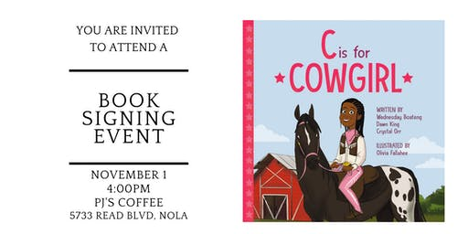 """""""C is for Cowgirl"""" book reading and signing at PJ's Coffee (Read Blvd)"""