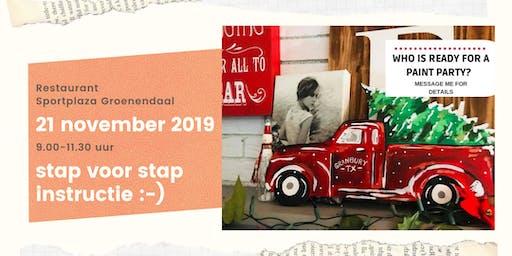 Schilderworkshop DIY Kerst decoratie 'Truck&Tree'