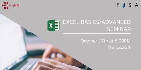 FISA Presents: Excel Basics/Advanced Seminar billets