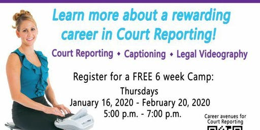 Free 12th Grade Broward County Schools/6 wk (Thursdays) Court Reporting Camp
