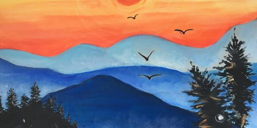 Paint & Sip Party - 'Blue Mountains' at The Windmill, Orton Waterville