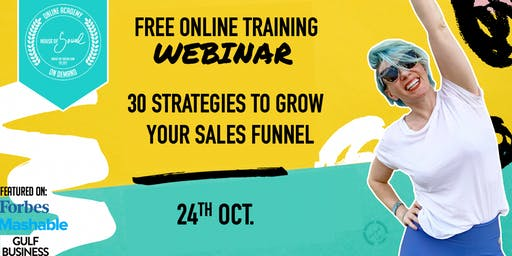 FREE ONLINE WEBINAR -30 STRATEGIES TO GROW YOUR SALES FUNNEL