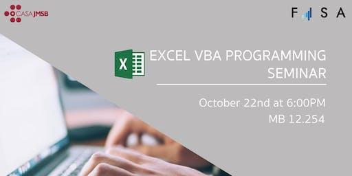 FISA Presents: Excel VBA Programming Seminar