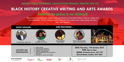 Black History Creative Writing and Arts awards event