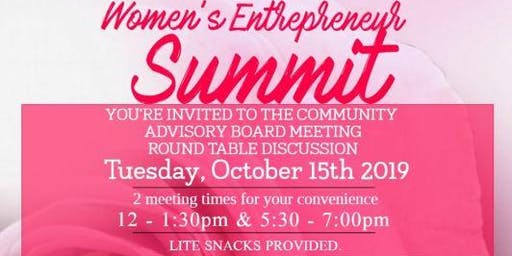Women's Entrepreneur Summit Community Advisory Board Meeting - October 15th