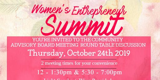 Women's Entrepreneur Summit Community  Advisory Board Meeting - Oct. 24th