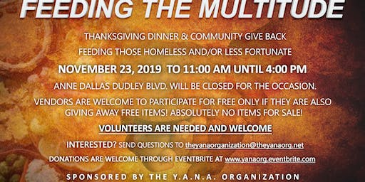 3rd Annual Feeding the Multitude Thanksgiving Meals