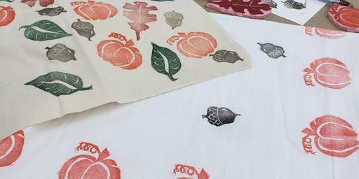 Block Printing on Tea Towels