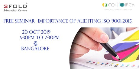 FREE SEMINAR - Importance of Auditing ISO 9001:2015 tickets