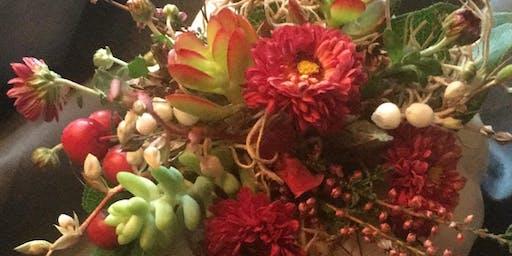 Mini Pumpkin Succulent and Flowers Workshop