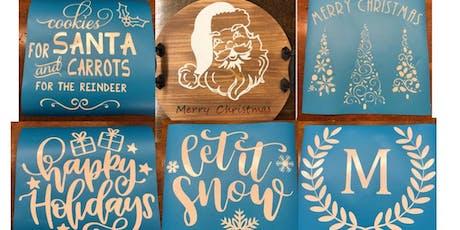 Wood Christmas/Seasonal/Personalized Round Tray Workshop tickets