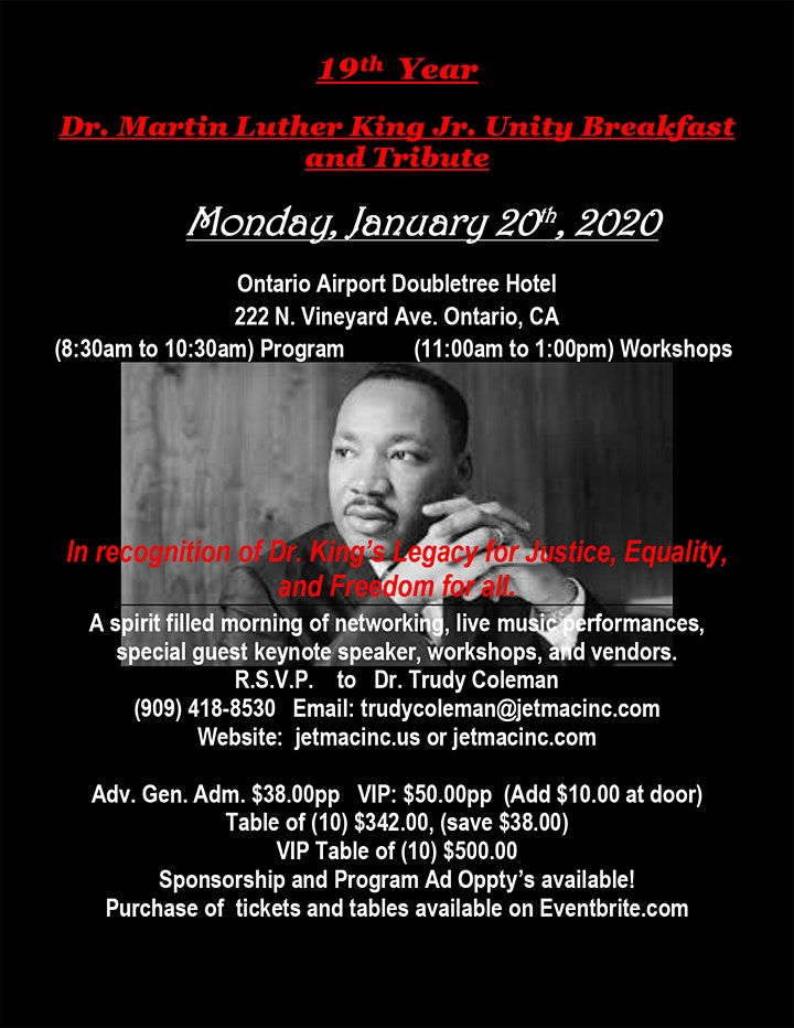 19th Year Dr. Martin Luther King Jr. Unity Breakfast & Tribute - Ontario,CA image