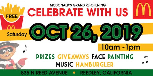 McDonald's Grand Re-Opening - FREE - GRATIS