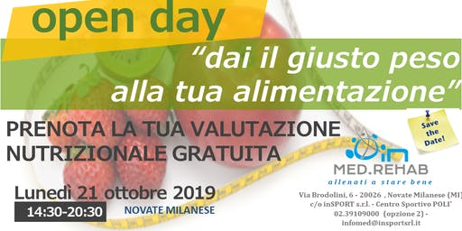 OPEN DAY - VALUTAZIONI NUTRIZIONALI GRATUITE