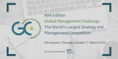 Global Management Challenge Presentation (Pizza on us!) bilhetes
