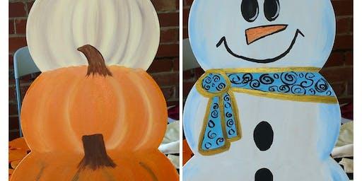 Pumpkin and snow ladies door hangers