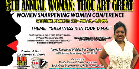 5th Annual Woman: Thou Art Great - Women Sharpening Women Conference tickets