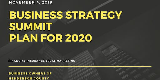 Business Owner Strategy Summit Planning For 2020