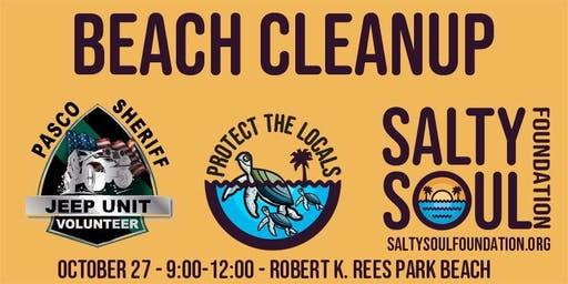 Oct 2019 Beach Cleanup Green Key with PSO Jeep Unit