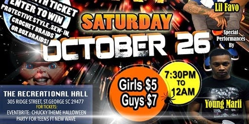 Chucky Theme Halloween Party for teens featuring  a preformance by New WAVE
