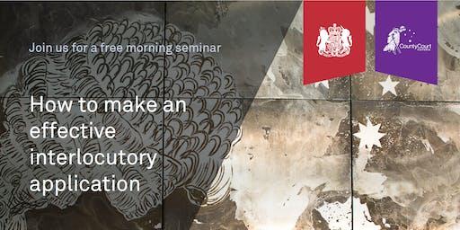 Free legal seminar: How to make an effective interlocutory application