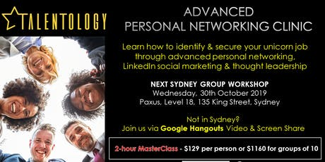 Talentology - Advanced Personal Networking  - Master Class tickets