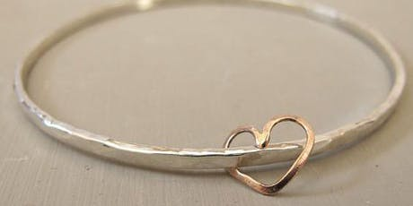 Personalised silver bangle and 9ct gold charm workshop tickets