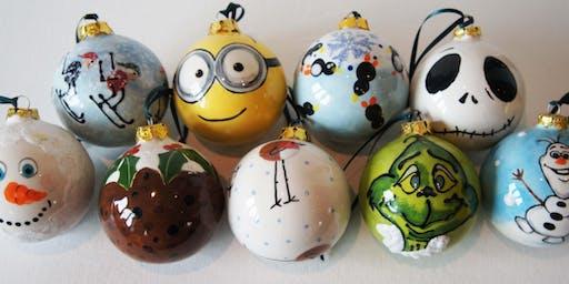 Ceramic Christmas bauble painting workshop