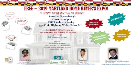 "FREE - 2019 Maryland Home Buyer's EXPO -  ""Shifting From Renting To Buying"""