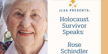 Holocaust Survivor Speaks: Rose Schindler tickets