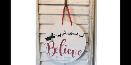 Believe Last Name - Round Door Hanger tickets