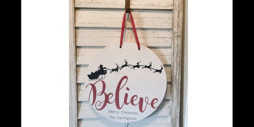 Believe Last Name - Round Door Hanger
