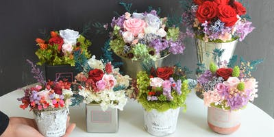 Design a DIY floral arrangement with REAL flowers that last a YEAR. BYOB!