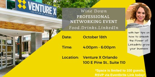 Wine Down Orlando Professional Networking Event - Venture X