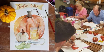 """DIY Paint a  Watercolor Recipe """"Spiced Pumpkin Cider"""" at Lucky's"""