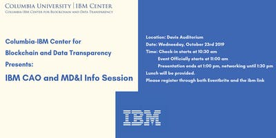 IBM CAO and MD&I Info Session