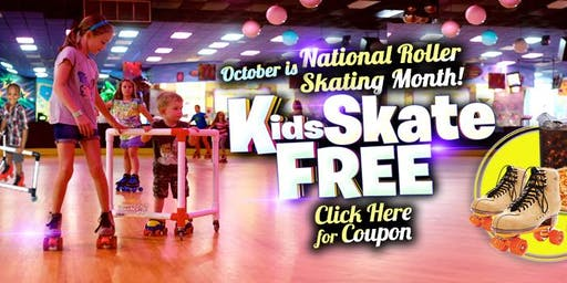 Kids Skate Free Sunday 10/27/19 at 12:00pm (with this ticket)