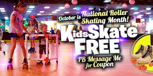Kids 10 and Under Skate Free Saturday 10/19/19 at 10am (with this ticket)