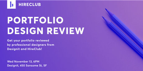Portfolio Design Review with HireClub and Designit tickets