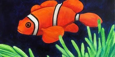 Kids & Grown-Ups Clownfish Painting Party at Brush & Cork