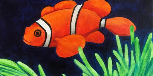 Kids & Grown-Ups Clownfish Painting Party at Brush & Cork