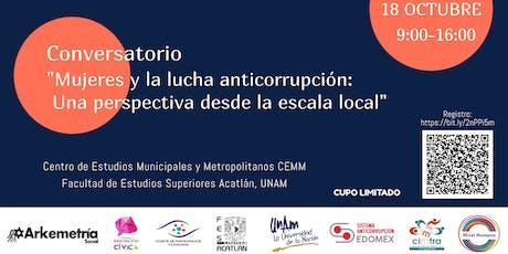 """Conversatorio """"Mujeres y la lucha anticorrupción"""" entradas"""