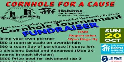 Cornhole Tournament! Presented by Habitat for Humanity and WestSac Cornhole