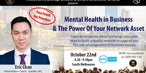 Melbourne Entrepreneurs - Awesome Networking Plus Guest Speaker Eric Chan